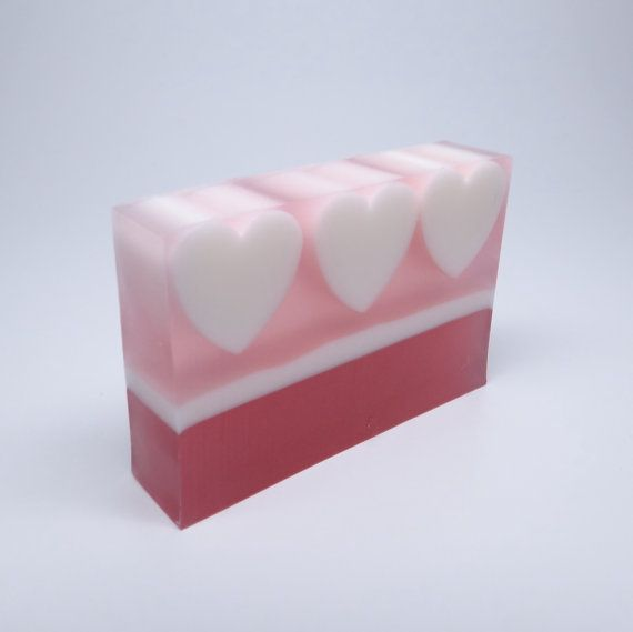 Passionfruit Rose Hearts Soap Natural Glycerin Soap by LENAalma, $6.50