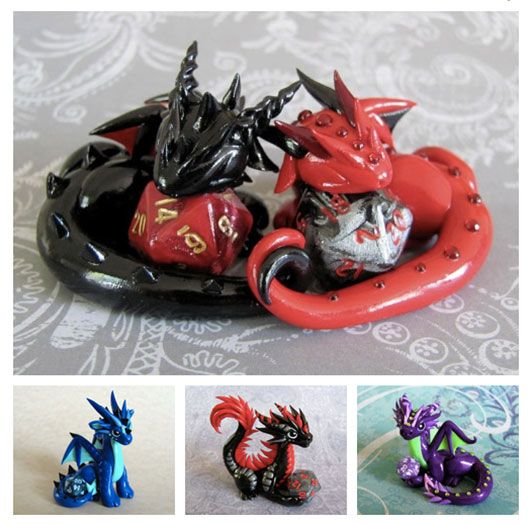 Sculpted Dragon Figures That Hold D&D Dice