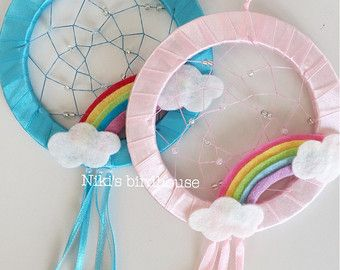 Children believe in magic, and with a little magic this dreamcatcher will catch bad dreams in this beautiful net. Put it in the window for light will make it beautifully glimmering. Select color at checkout. CUSTOM ORDERS AVAILABLE  For more dreamcatchers visit: https://www.etsy.com/shop/NikisBirdhouse?section_id=11581088
