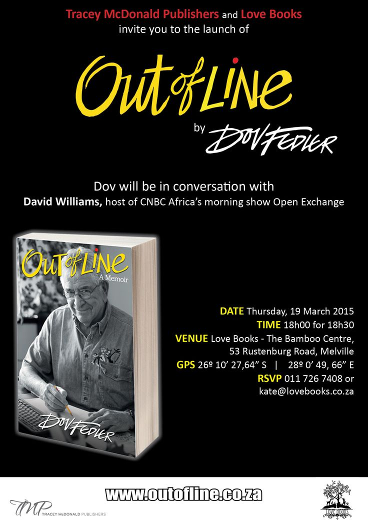 Invitation to the book launch of Out of Line, the memoir written by Dov Fedler