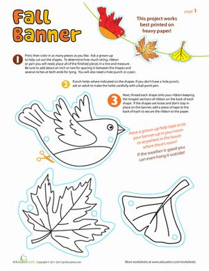 Fall Third Grade Paper Projects Worksheets: Autumn Decorations Worksheet