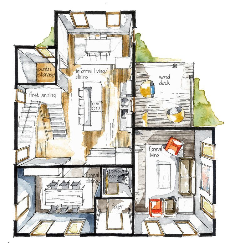 Watercolor is applied to the floor plan to enhance its appearance.