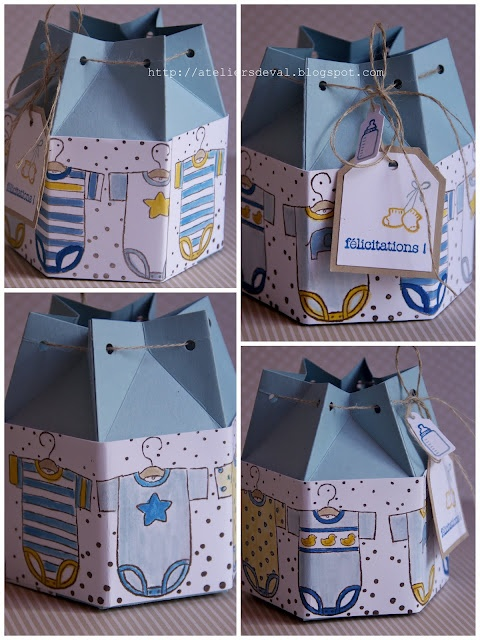 Baby- two milk carton boxes put together to make the draw string bag