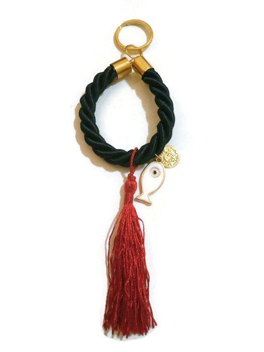 Evil Eye Keychain Tassel Keychain Evil Eye by MakeTheChangeJewelry