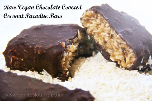 Raw Vegan Chocolate Covered Coconut Paradise Bars. Free from dairy and refined sugar, this is a conscious dessert that tastes amazing too!