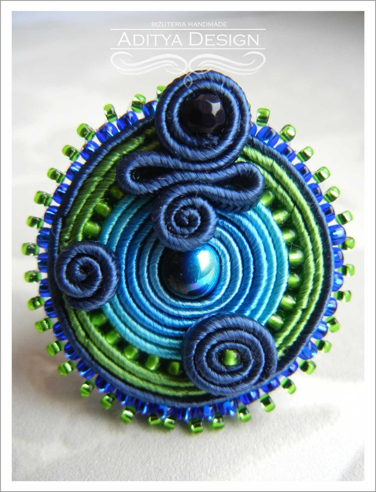 ROUND PAVONE- elegant handmade soutache ring (natural blue pearl and agate)