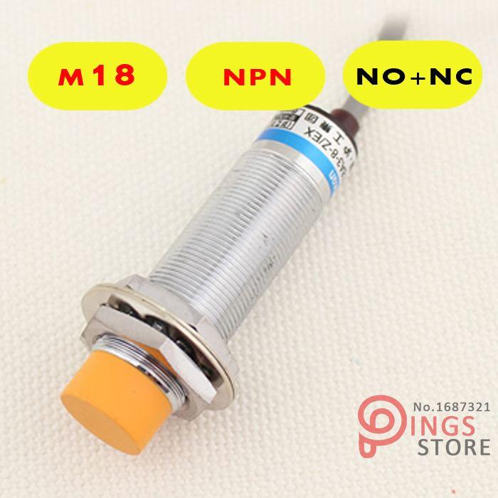 (5PCS) LJ18A3-8-Z/CX M18 Three Wire DC NPN NO+NC 8mm distance measuring Inductive proximity switch sensor