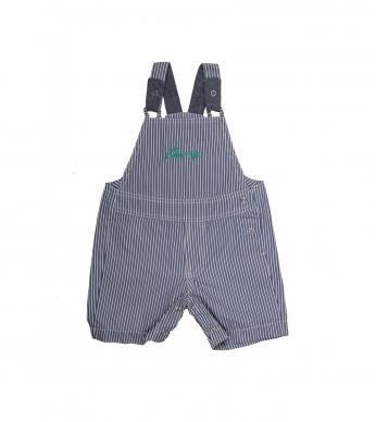 """A practical dungaree in our playful """"Guppy"""" stripe, with Naartjie embroidery."""