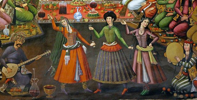 Dancers. A wall painting from Chehel Sotoun pavilion in Isfahan, Iran, 17th century