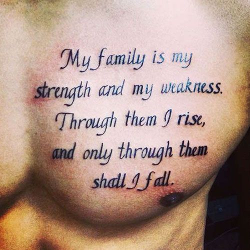 "Family tattoos are special and significant, especially when they commemorate the birth or death of someone important. This is because tattoos about family represent love, unity, loyalty and respect. Some of our favorite family tattoo ideas and designs include the quotes ""Family First"", ""Family Is Forever"" or ""Family Over Everything"" and symbols such as a lion pride, anchor, compass, kid's handprint, or heart. Ultimately, there are many cool family tattoos for men – you just have to find a…"