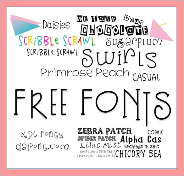 Free Fonts!  Fun, funky, slim, and chunky fonts for every occasion. (http://www.k26fonts.com)