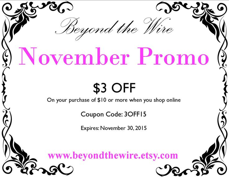 Get $3 off your purchase when you spend $10 or more in my shop! For all of November!  www.beyondthewire.etsy.com Hypoallergenic Allergy-Free Jewelry!
