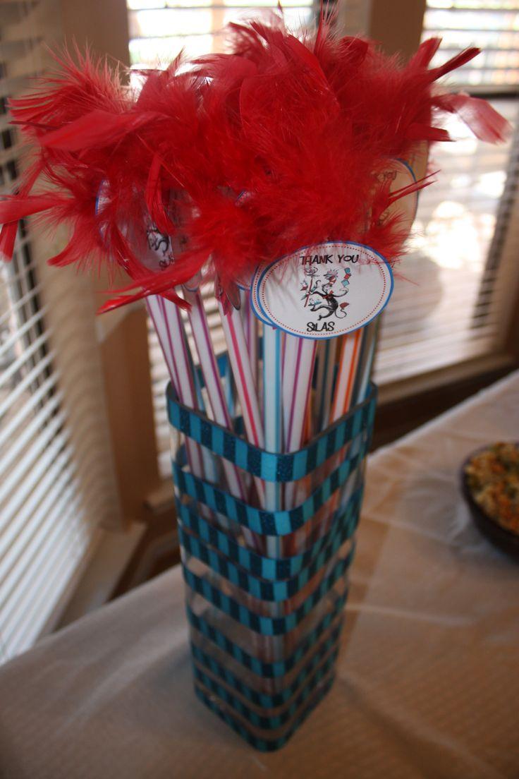 Dr Seuss Birthday Party Favor Pixie sticks & feather tags DIY