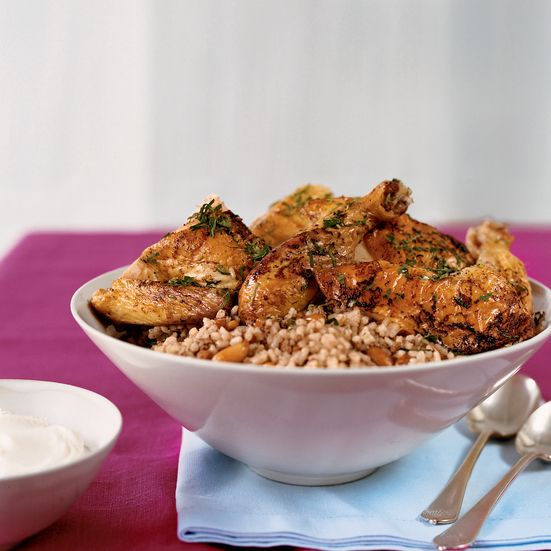Roast Chickens with Lebanese Rice and Pomegranate Jus Recipe - Anissa ...