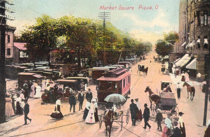 Piqua market square 1908 piqua ohio street view ohio