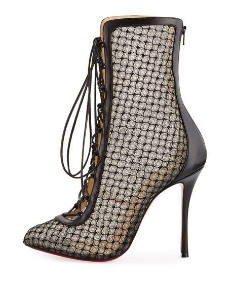 christian louboutin fillette patent/mesh glitter heel bootie