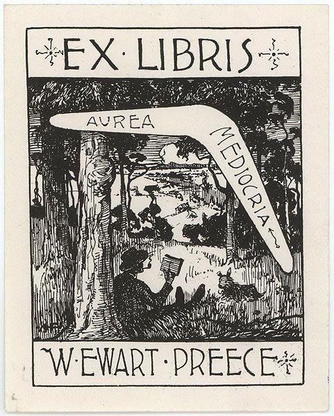 A.H. Fullwood Australian 1863-1930 Book plate, c1920-1930. etching