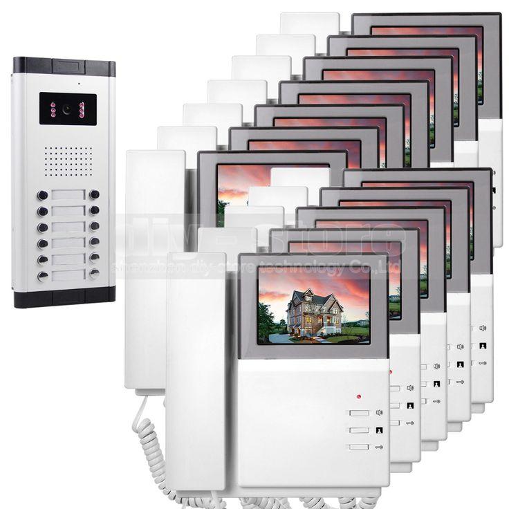 "DIYSECUR 4.3"" HD Monitor Apartment Video Door Phone Video Intercom Doorbell 700 TVLine IR Camera Touch Key for 12 Families #Affiliate"