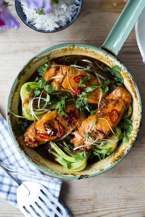 Vietnamese Caramel Salmon  This is a brilliantly simple South East Asian recipe, which is traditionally cooked in a clay pot and served still sizzling straight to the table. This fish recipe is often made with catfish in Vietnam but is quite delicious made with darns of salmon. The sticky and sweet caramel sauce is infused with wonderful aromas from ginger and chilli. Serve the salmon with warm rice and generous spoonful of the aromatic caramel sauce.