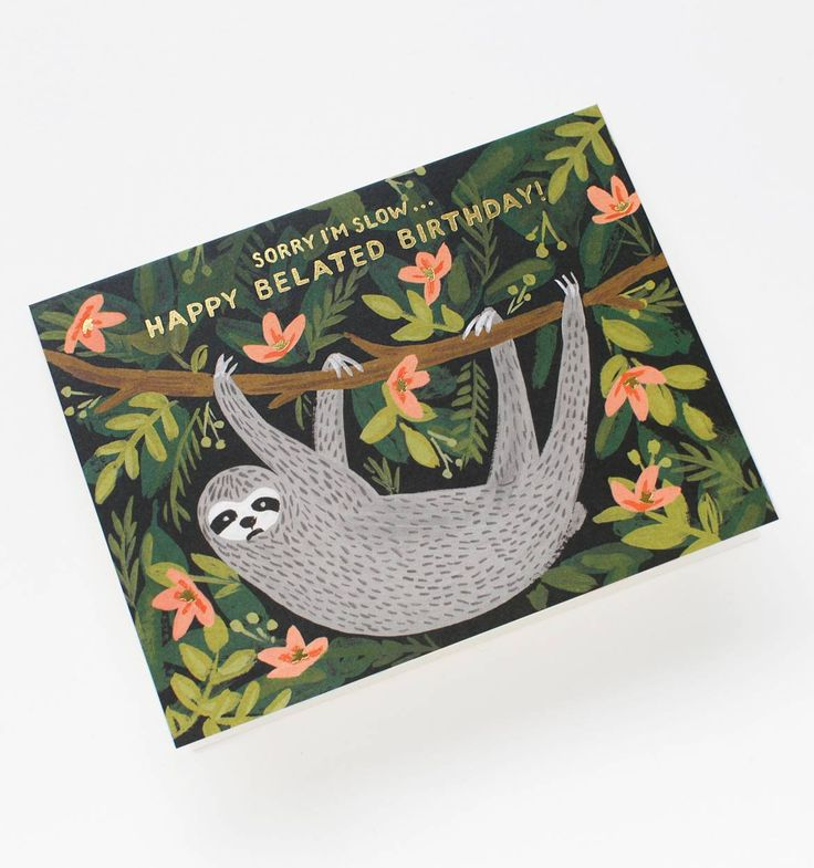 Sloth Belated Birthday Available as a Single Folded Card or Boxed Set of 8