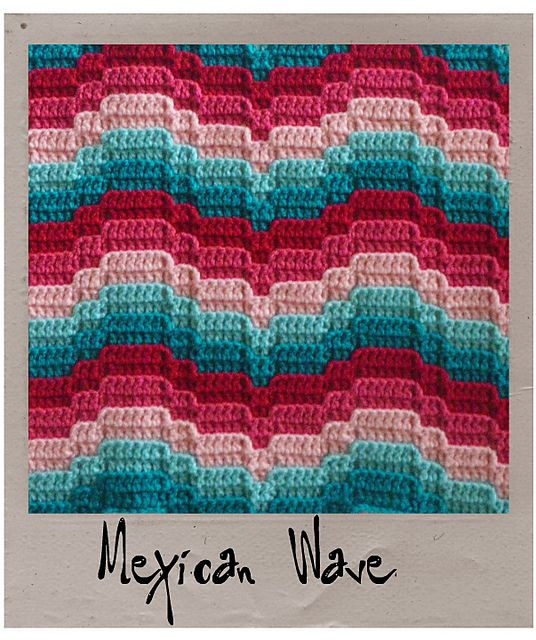 Ravelry: Mexican Wave pattern by Laura Pavy: Mexicans Waves, Free Pattern, Knits Crochet, Crochet Afghans, Bargello Crochet, Nana Needlework, Waves Patterns, Crochet Patterns, Crochet Inspiration