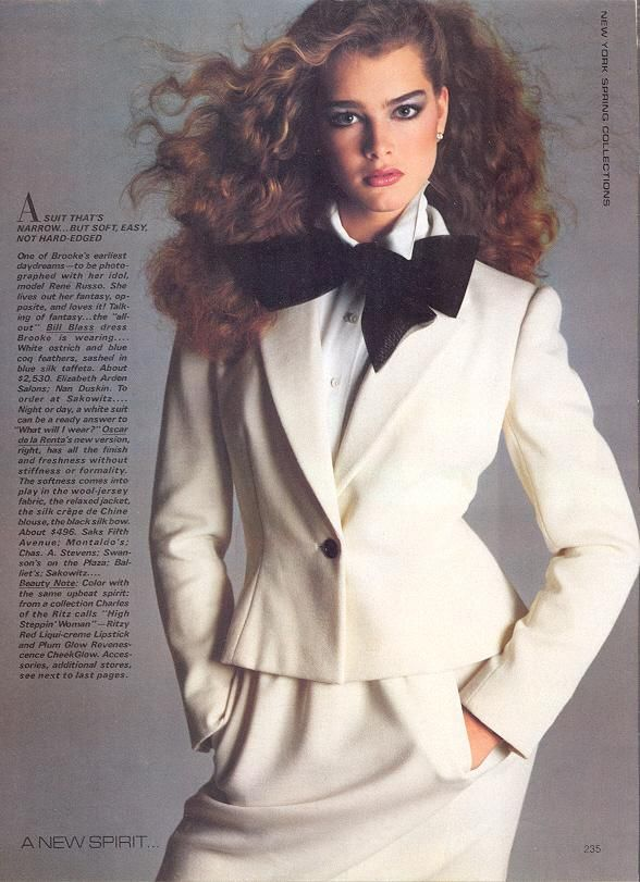 Brooke Shields, age 14, wearing Bill Blass in the February 1980 issue of Vogue magazine. Photograph by Richard Avedon.