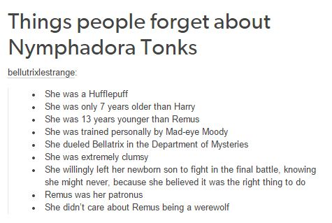 Harry Potter - Nymphadora Tonks <------------ I will never not repin. She is amazing,