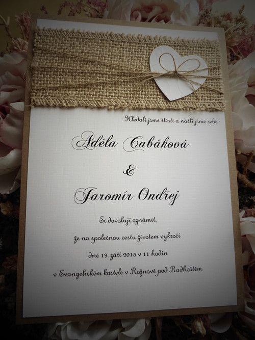 Rustikální svatební oznámení se srdíčkem vel. A5