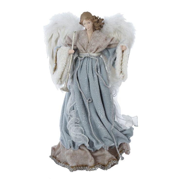 Kurt Adler Treetop Angel, 16-Inch, Aqua