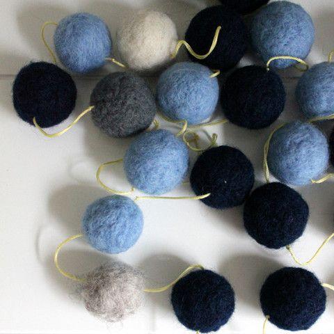 navy, powder blue, grey and cream on a zesty yellow string.  Felt Ball Garland - Blue Tones – Block Colour Design- Purchase via www.beaumondemama.com