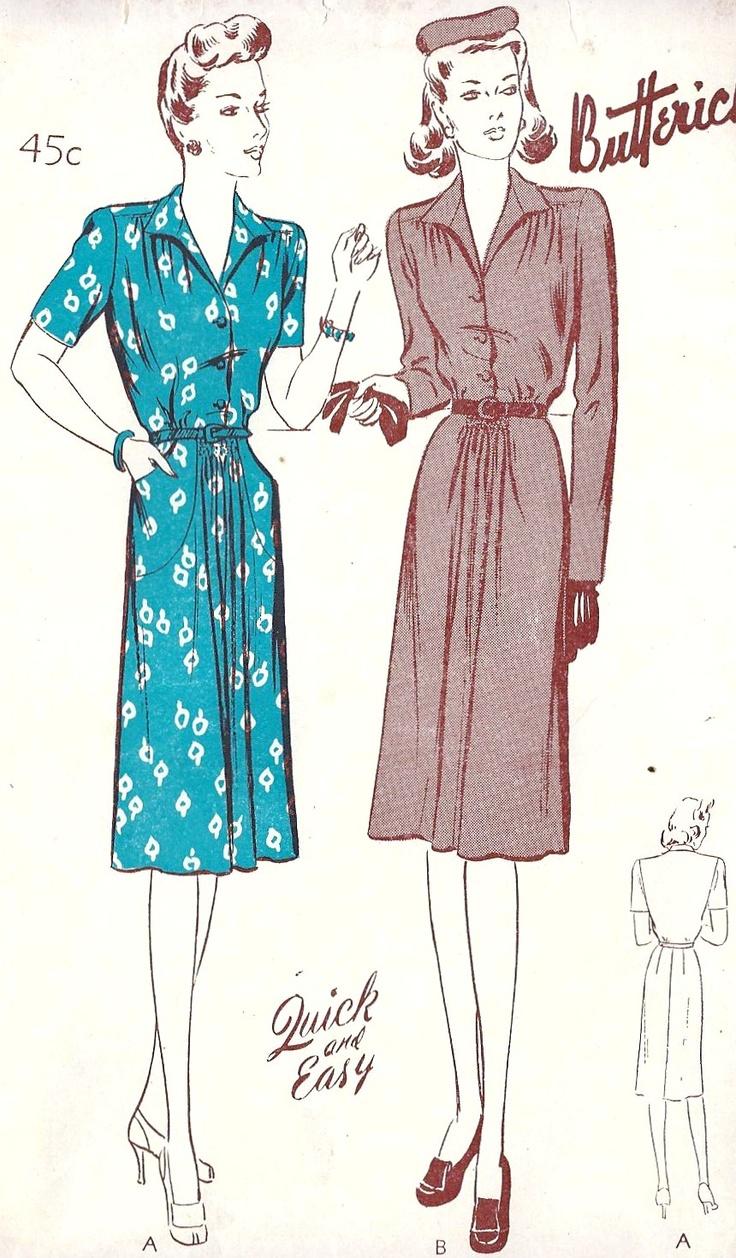 1940s Vintage Casual Dresses