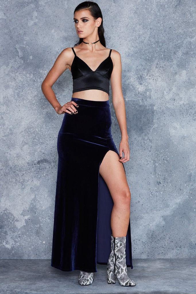 Velvet Deep Blue Split Column Skirt - LIMITED ($110AUD) by BlackMilk Clothing