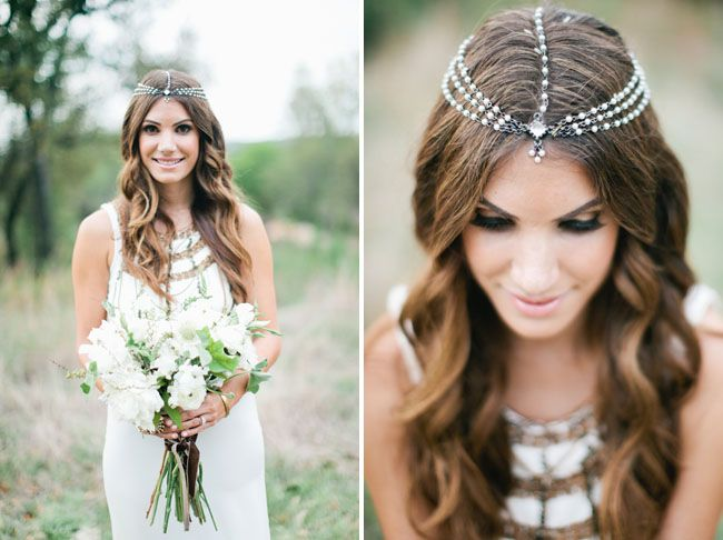 bridal head piece poses on the Ranch. Bohemian antique wedding at Vista West Ranch in Austin Texas Hill Country.