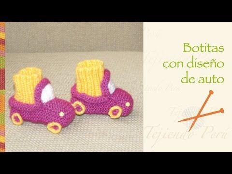 Cómo tejer botitas en forma de auto en palitos o dos agujas para bebés - YouTube