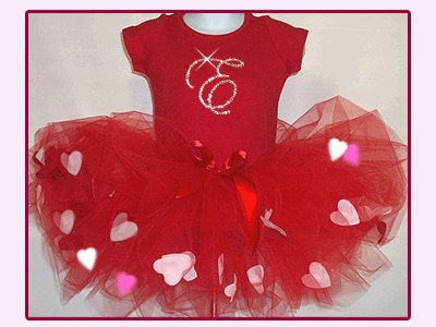 Valentine Tutu Set, Valentine Outfit, Heart filled Tutu, Personalized Top in Sparkly Crystals