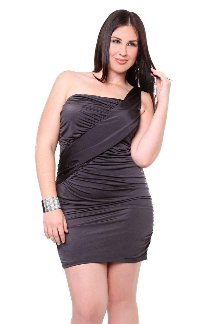 Plus Size Club Dresses   Grey One Shoulder Plus Size Club Dress