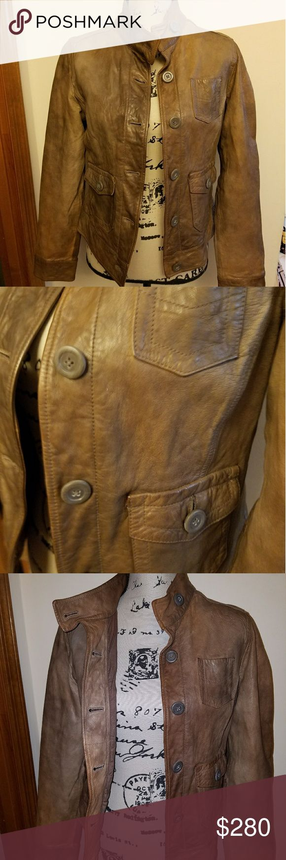 EUC Gap Leather Motorcycle Utility Jacket - Medium Amazing distressed brown leather jacket with button detail and several pockets. This jacket appears to have never been worn and NWOT, but since it is a re-posh (little too small for me) I will say EUC. I am crushed this jacket doesn't fit me but hope it works great for someone else. Past season, but leather jackets never go out of style. Perfect addition to any wardrobe/closet!! Offers welcome. Last picture is similar jacket for sale on…