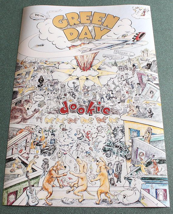 Green Day Poster Dookie Poster Green Day Dookie Poster Displays In Print 12 Aqueous Pigment Inks Without Solvent Green Day Poster Green Day Dookie Tapestry