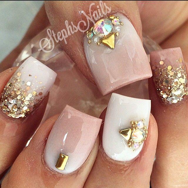 #nude#white#gold#glitter#notpolish#cutenails#acrylicnails#acrylicfade#love#goldstuds#cute#love#nails#diamondnails#stephs#nails