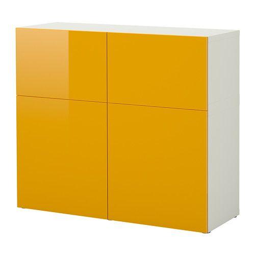 A102xL120xP40, EUR 235   IKEA - BESTÅ, Comb arrumação c/portas, branco/Tofta amarelo/brilhante,