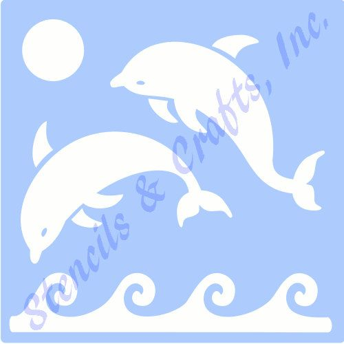 "DOLPHIN DOLPHINS STENCIL stencils beach ocean sea background pattern template templates craft scrapbook new 6"" x 5"""