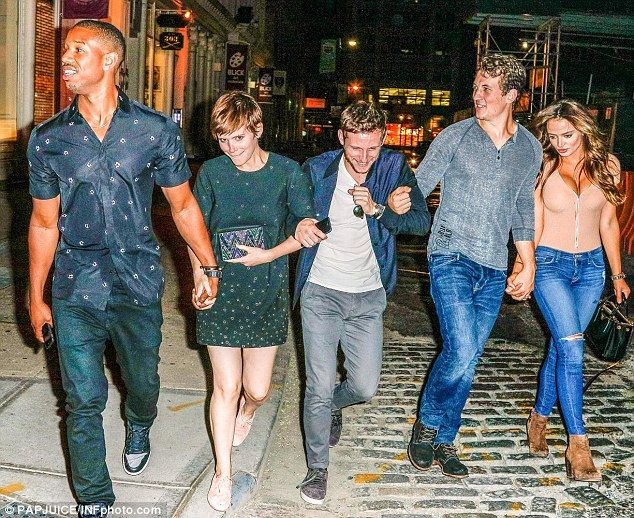 Here comes the gang: The actors appeared to have the giggles when they were seen joining their co-stars Michael B. Jordan and Miles Teller along with his girlfriend Keleigh Sperry for dinner