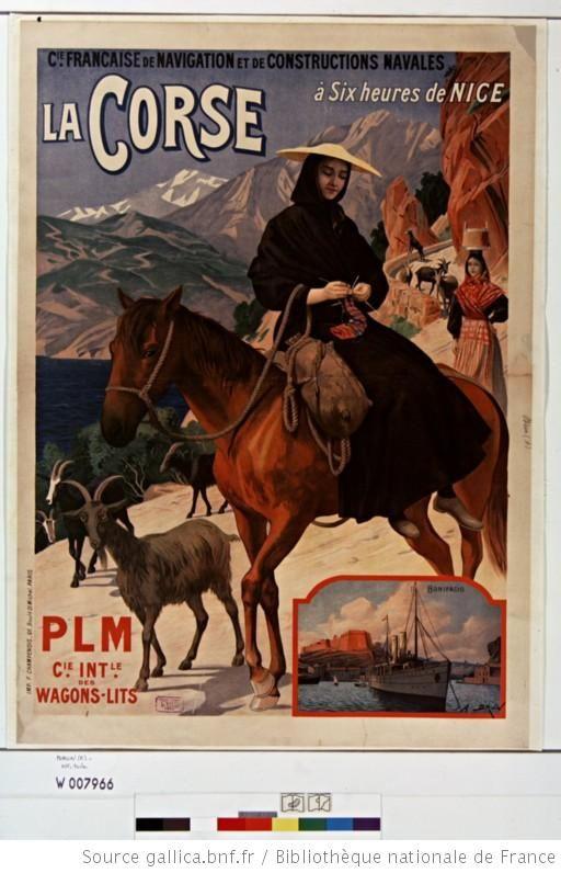 C[ompagn]ie française de navigation et de constructions navales... la Corse, PLM C[ompagn]ie int[ernationa]le des wagons-lits : [affiche] / [A. Brun] - 1