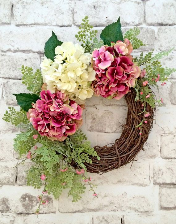 Spring Hydrangea Wreath, Spring Wreath, Mother's Day Wreath, Wedding Wreath, Easter Wreath, Summer Wreath, Front Door Wreath, Silk Floral Wreath, Grapevine Wreath, Wreath on Etsy, by Adorabella Wreaths!