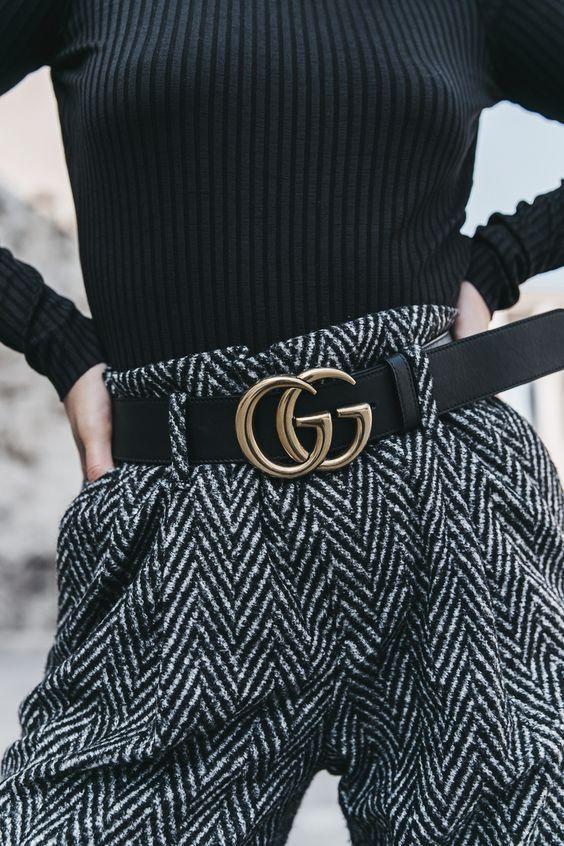 Gucci logo belt high waist