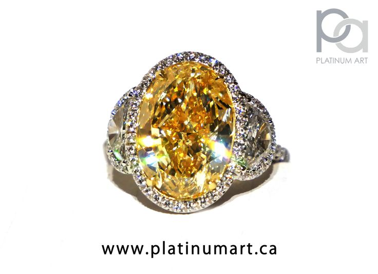 Demonstrating absolute brilliance, is this 8.20ct natural fancy yellow diamond, with ½ moon diamonds as sidestones. Absolutely breathtaking in person. Truly a must for any avid Jewellery Lover. #jewellery #jewelry #Canadian #YellowDiamond #Christmas #Holiday #Fashion #Style #love #art #gifts