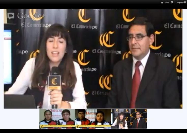 El diario El Comercio de Perú utilizó ayer, por primera vez, la herramienta para videoconferencias de Google , las quedadas o hangouts en vivo.
