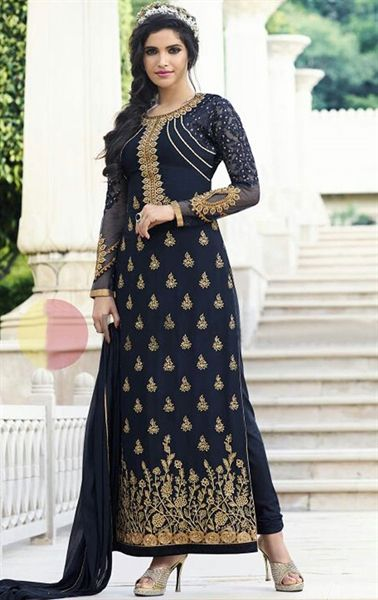 Picture of Artistic Navy Blue Party Wear Salwar Kameez
