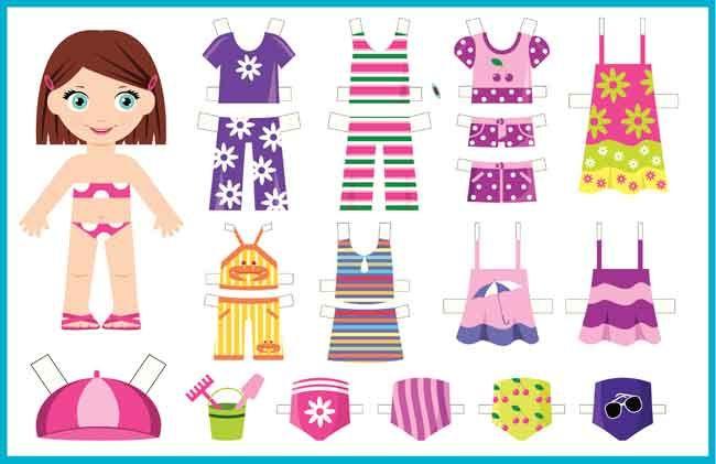 Un recortable de ni a y ropa veraniega para imprimir y - Cosas de manualidades para ninos ...