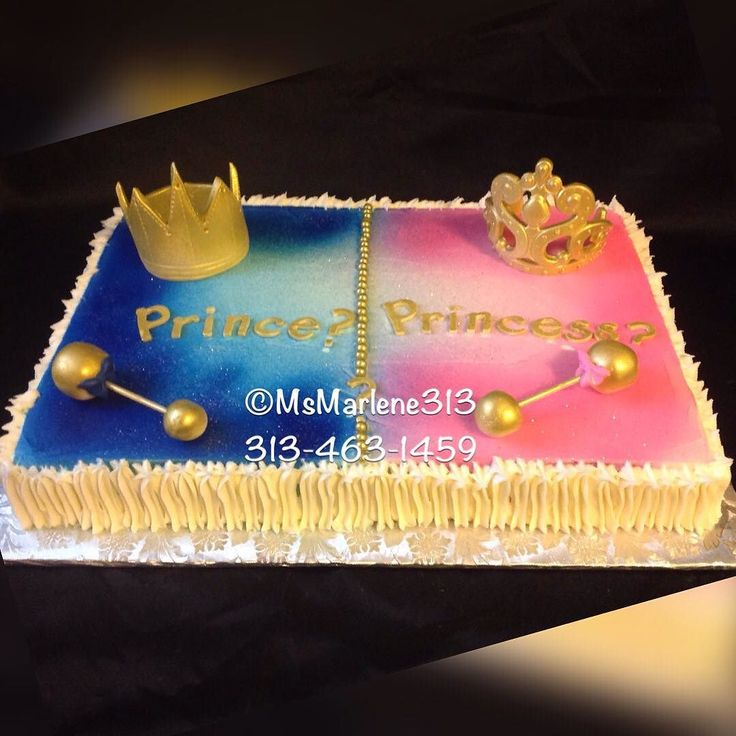 Prince or Princess Themed Gender Reveal Cake w/Crown Tiara and Rattles by…                                                                                                                                                     More